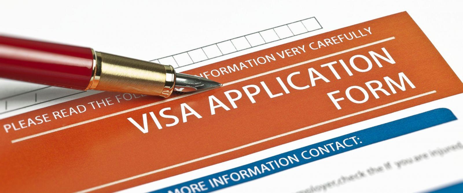PHOTO: Visa application form.