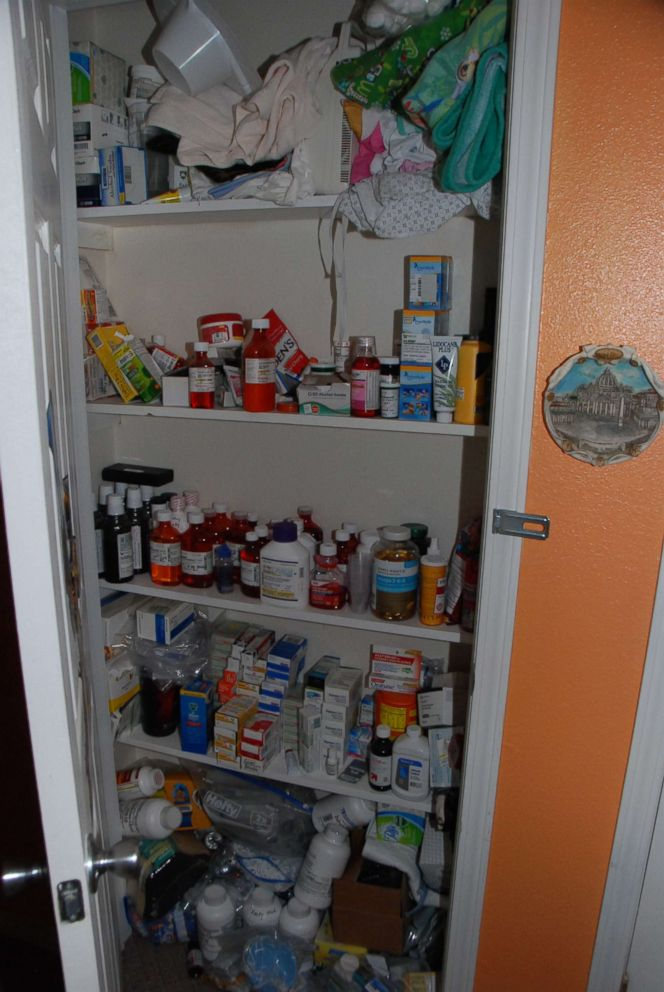 PHOTO: Dee Dee Blanchards medicine cabinet where she kept medication for her daughter Gypsy Blanchard is pictured here.