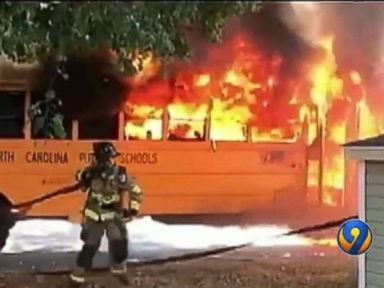 Students rush to escape as school bus explodes in flames in Charlotte