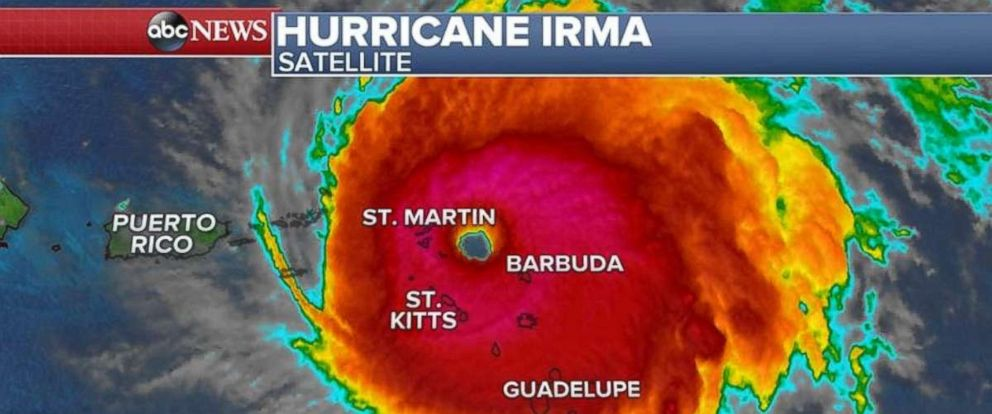Hurricane Irma as seen on satellite imagery on the morning of Sept. 6, 2017.
