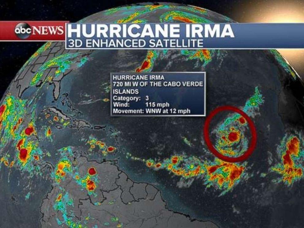 Enhanced satellite image of Hurricane Irma on Sept. 1, 2017 via ABC News.