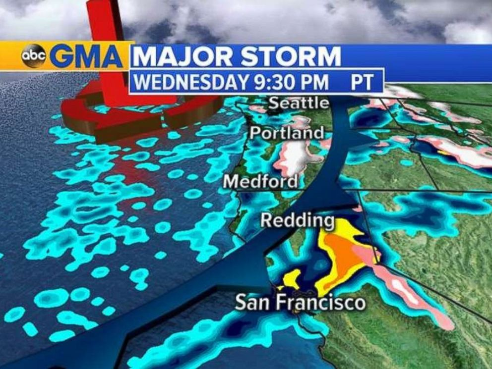 A major storm is moving onto the West Coast on Wednesday into Thursday
