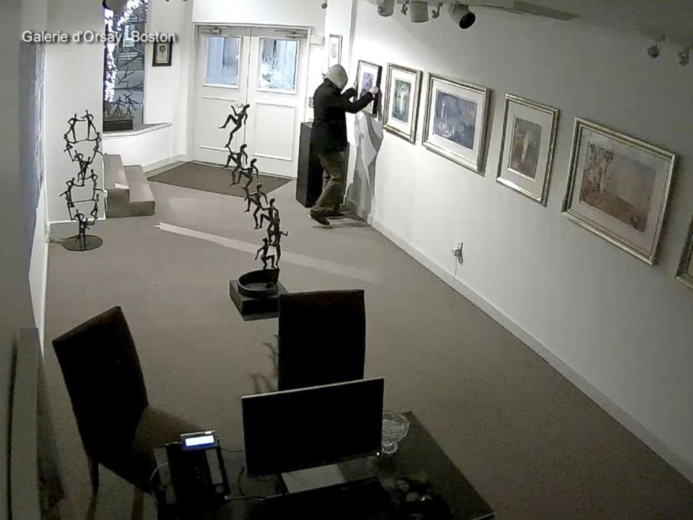 PHOTO: Surveillance video from inside the Galerie dOrsay art gallery in Boston shows a suspect in an alleged robbery.
