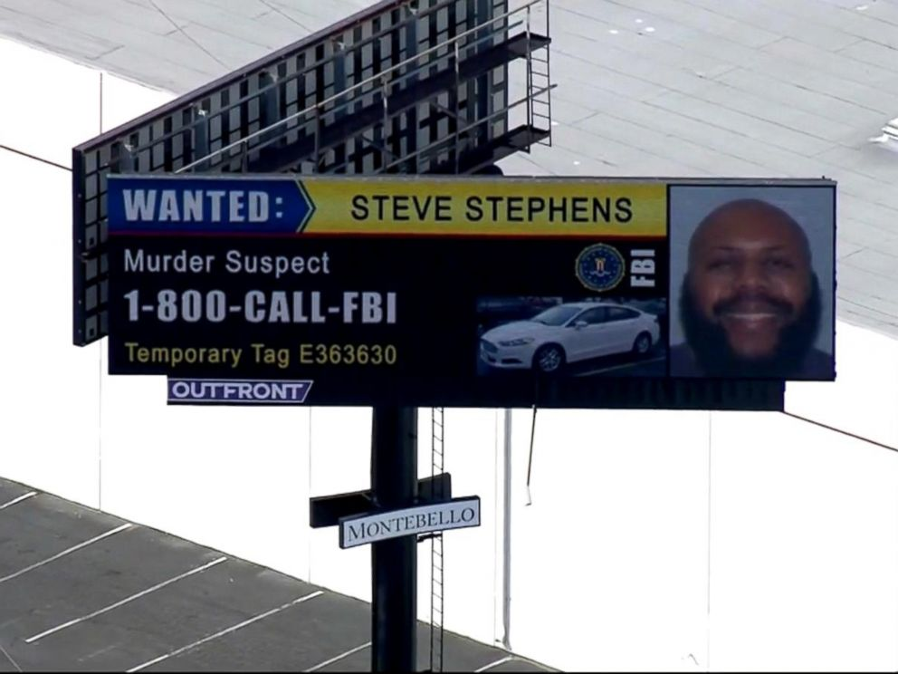 PHOTO: Facebook murder suspect Steve Stephens is seen on a billboard off a California freeway.