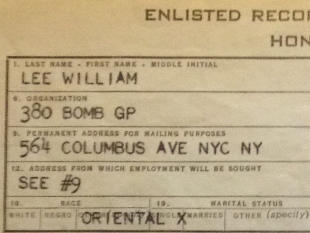 PHOTO: The U.S. military record of honorable discharge for Nick Lees grandfather, William Lee, after his service in World War II. Asians were then described as Oriental. -