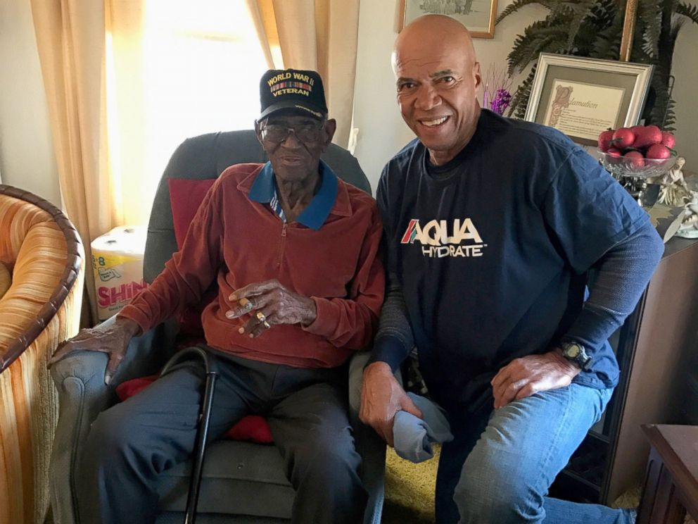 PHOTO: Volma Overton, right, is pictured with Richard Overton, in the Austin, Texas, home the World War II veteran has lived in since the 1940s.