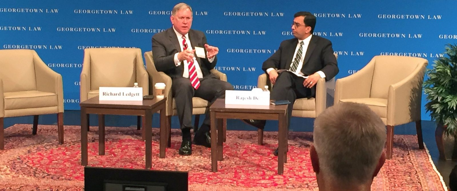 PHOTO: Former NSA Deputy Director Richard Ledgett speaks with former NSA General Counsel Rajesh De at Georgetown Law Schools Annual Cybersecurity Law Institute in Washington, May 18, 2017.