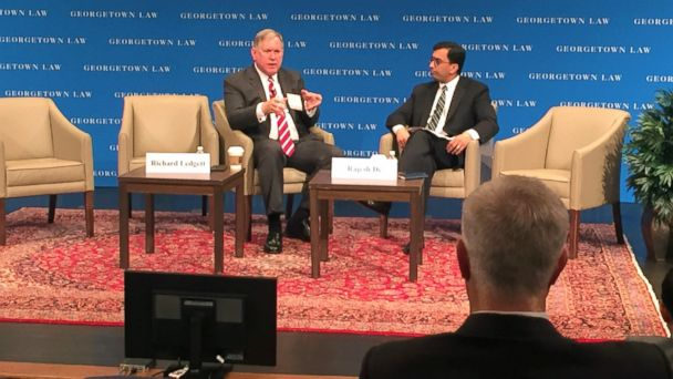 PHOTO: Former NSA Deputy Director Richard Ledgett speaks with former NSA General Counsel Rajesh De at Georgetown Law School's Annual Cybersecurity Law Institute in Washington, May 18, 2017.