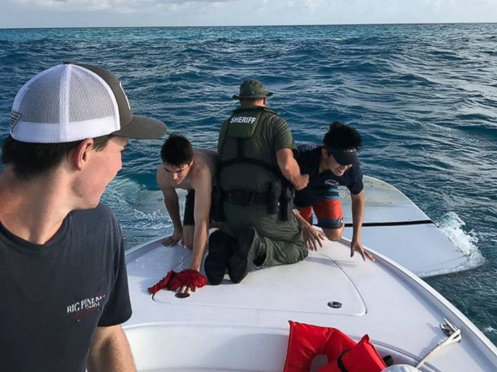 PHOTO: Three teens from California were rescued from a capsized boat off the Florida Keys, police said.