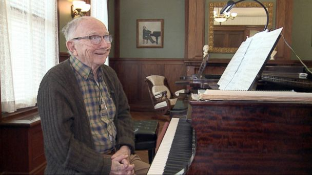PHOTO: 93-year-old World War II veteran Jack Prince practices with Wisconsin Conservatory of Music piano teacher Stefanie Jacob for his upcoming birthday recital.