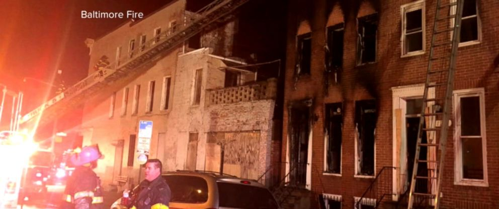 PHOTO: Damage from an alleged firebombing is seen here in Baltimore.