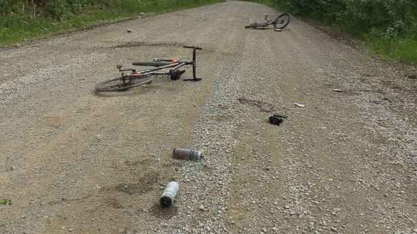 PHOTO: Bicycles at the scene of the bear attack in Anchorage, Ala., June 24 , 2017.