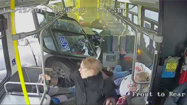 PHOTO: Dramatic video shows a truck crash into the middle of a public bus in upstate New York.