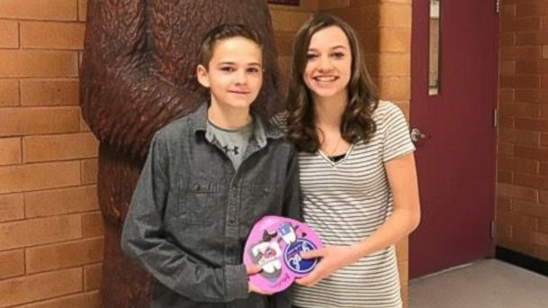 PHOTO: Tryston Brown's friend and classmate, 14-year-old Megann Charlesworth, was the only girl in school who knew about his grand Valentine's Day plan.