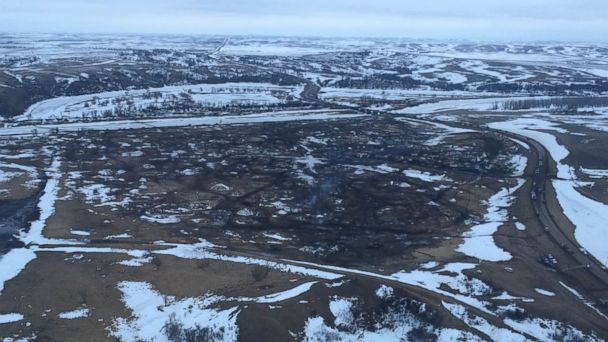 PHOTO: The main protest camp for the North Dakota Access Pipeline was cleared as of 2 p.m. local time, Feb. 23, 2017, after several demonstrators stayed past the Wednesday's evacuation order deadline.