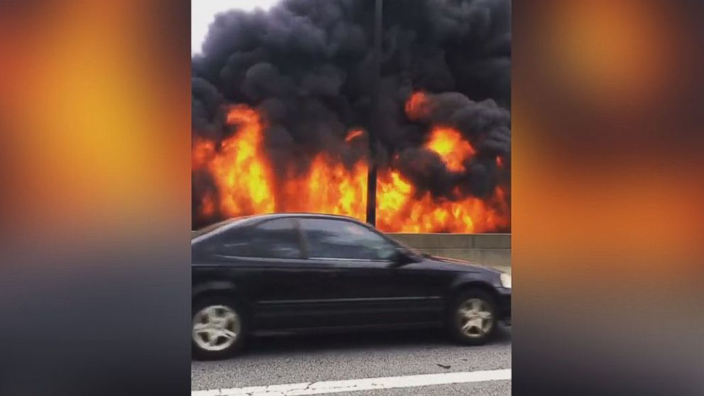 Large fire collapses portion of Atlanta  highway, causing heavy traffic delays