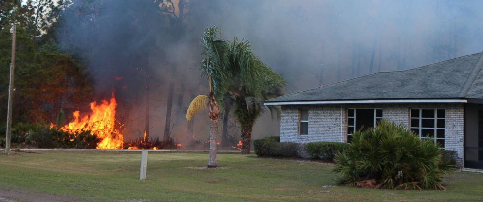 PHOTO: Polk County Fire Rescue posted this photo to their Facebook, April 22, 2017, showing the wildfire in Indian Lake Estates, Fla.