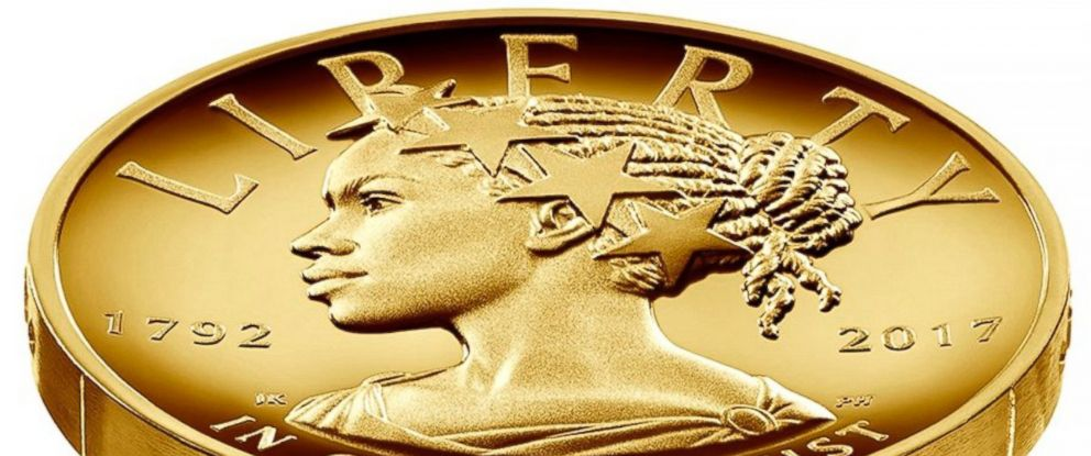 PHOTO: The United States Treasury and Mint have unveiled the 2017 American Liberty High Relief Gold Coin, which portrays Lady Liberty as a woman of color for the first time.
