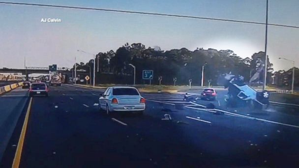 PHOTO: A dash cam captured a car crash on I-65, April 25, 2017, in Mobile, Ala.
