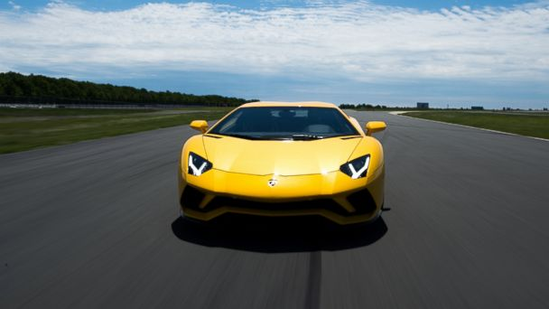 PHOTO: The Aventador S starts at $421,350. Some of the models tested at the Poconos Raceway were over $500,000.