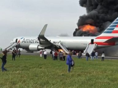 PHOTO: This screengrab from video posted to Instagram on Oct. 28, 2016 shows American Airlines plane on fire at OHare Airport in Chicago.