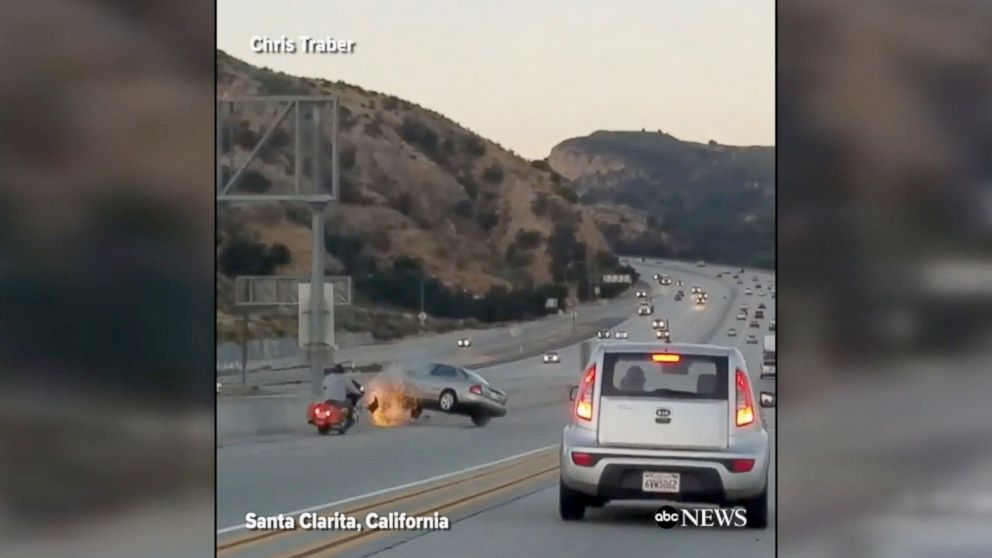PHOTO: One person was injured after an apparent road rage accident caused a crash on State Road 14 in Santa Clarita, California.