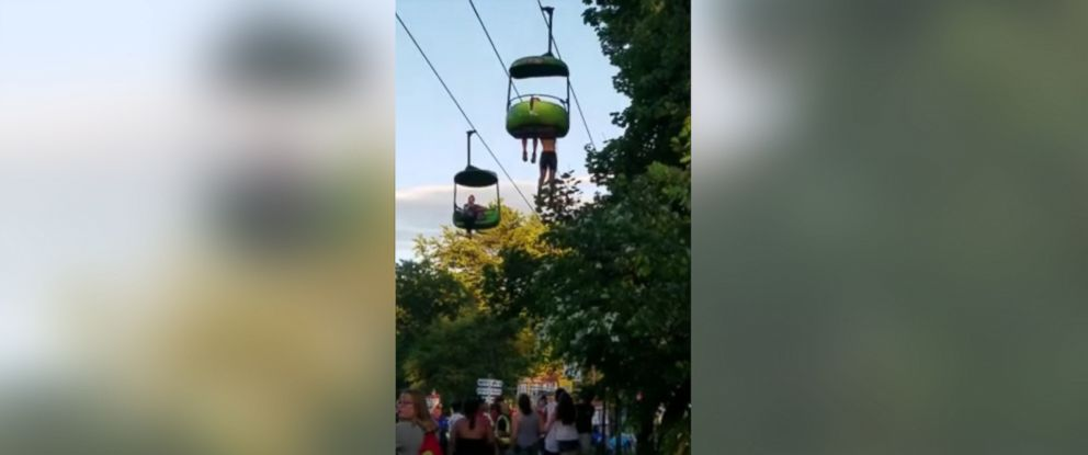 PHOTO: Video shows moment when a teenage girl fell from Six Flags ride in upstate New York, June 24, 2017.