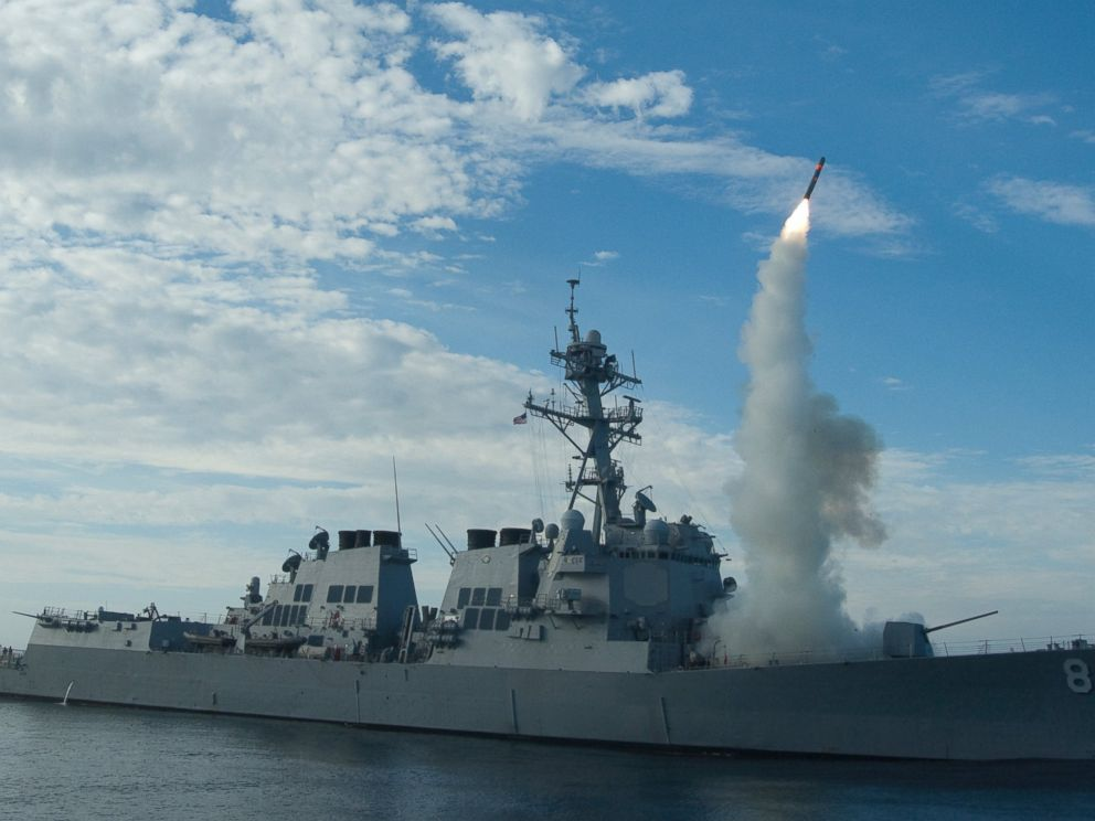 PHOTO: Sailors aboard the guided-missile destroyer USS Preble conduct an operational tomahawk missile launch.