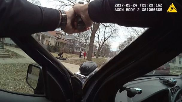 PHOTO: Police body camera footage shows unarmed youths detained at gunpoint, March 24, 2017, in Grand Rapids, Mich.