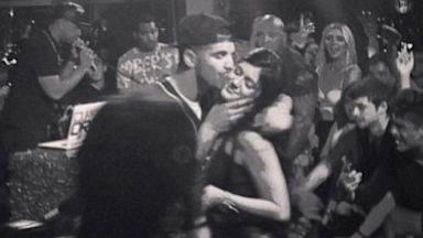 PHOTO: Kylie Jenner posted this instagram image of herself getting a kiss from Drake after he performed at her Alice In Wonderland themed Sweet Sixteen Party, Aug. 17, 2013 in Los Angeles.