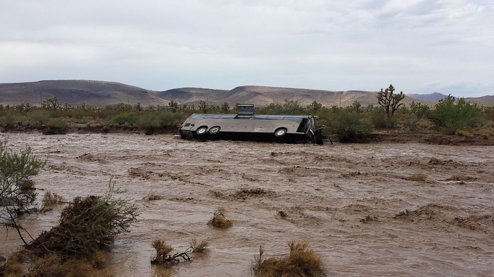 PHOTO: A tour bus was swept up in a flash flood in northern Arizona, Sunday, July 28, 2013, according to the Northern Arizona Consolidated Fire District No. 1.