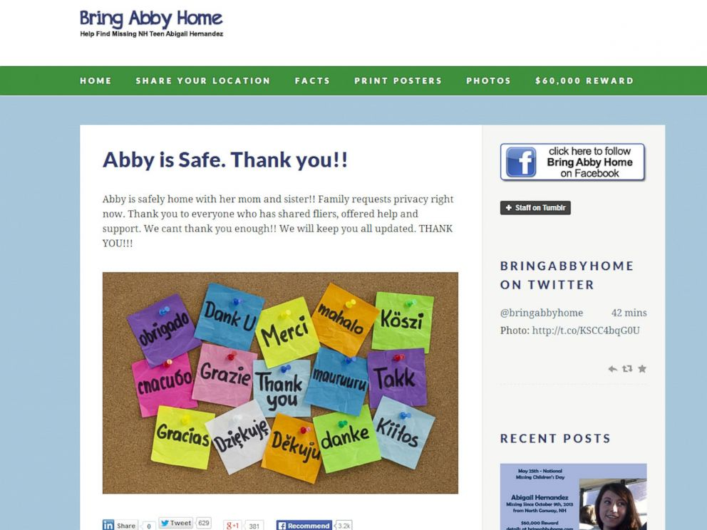 PHOTO: Zenya Hernandez, mother of missing North Conway teen Abigail Hernandez, posts a thank you note to BringAbbyHome.com after being reunited with her daughter.