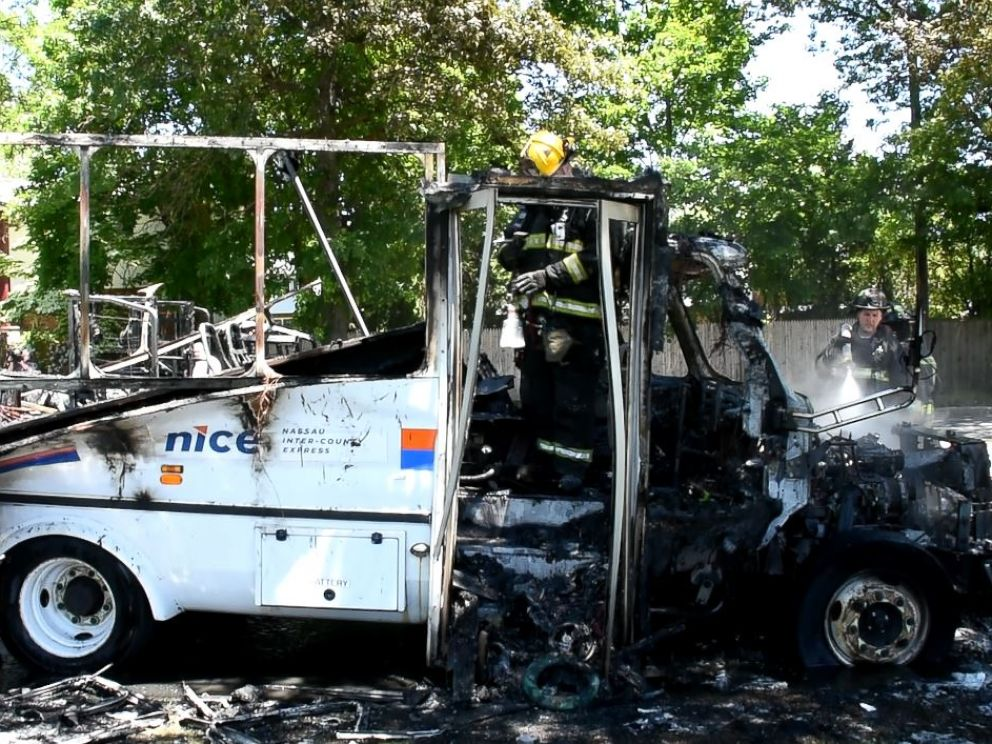 Driver Rescues Disabled Passenger From Long Island Bus Fire