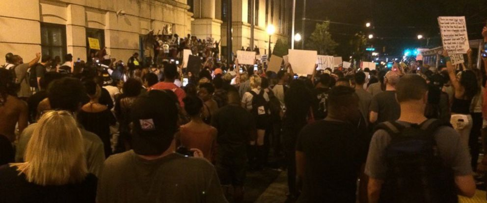 PHOTO: In this photo taken by DaShawn Brown of ABC affiliate WSOC, protesters take to the streets of Charlotte, North Carolina, on September 24, 2016.