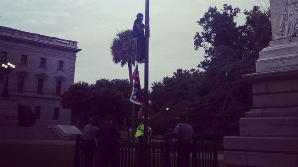 Woman Removes Confederate Flag In Front Of SC Statehouse ABC News