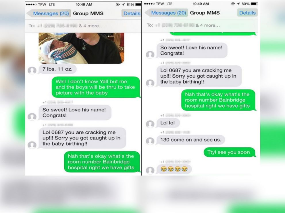 PHOTO: A stranger received a text and winds up making new friends in a hospital delivery room.