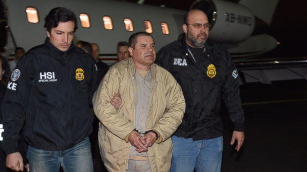 PHOTO: El Chapo arrives at Long Island MacArthur in Islip, New York on Thursday Jan. 19, 2017.