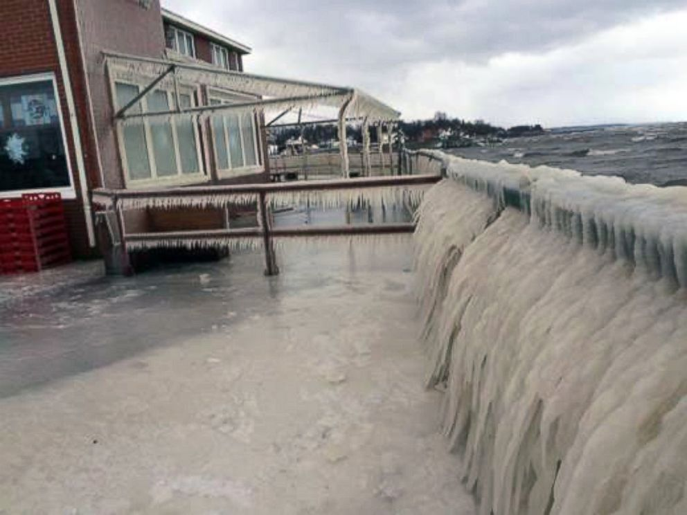 PHOTO: Water from Lake Eerie froze over on the deck of Hoaks Lakeshore Restaurant in Hamburg, N.Y. Sunday night and Monday morning.