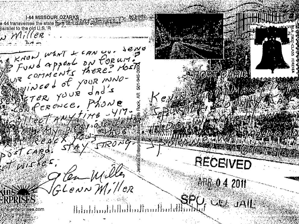 PHOTO: A postcard Frazier Glenn Miller sent Kevin Harpham in 2011.