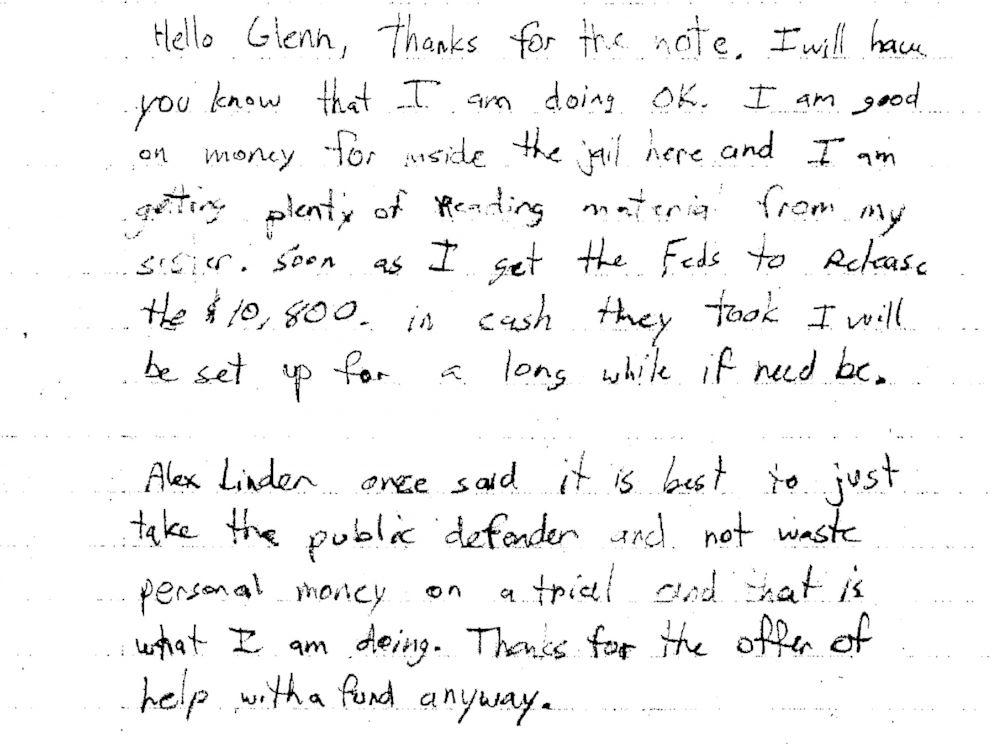 PHOTO: A letter Kevin Harpham sent Frazier Glenn Miller in response.