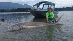PHOTO: Kegan Rothman caught a 600-pound sturgeon in Chilliwack, British Columbia, on June 29, 2015.