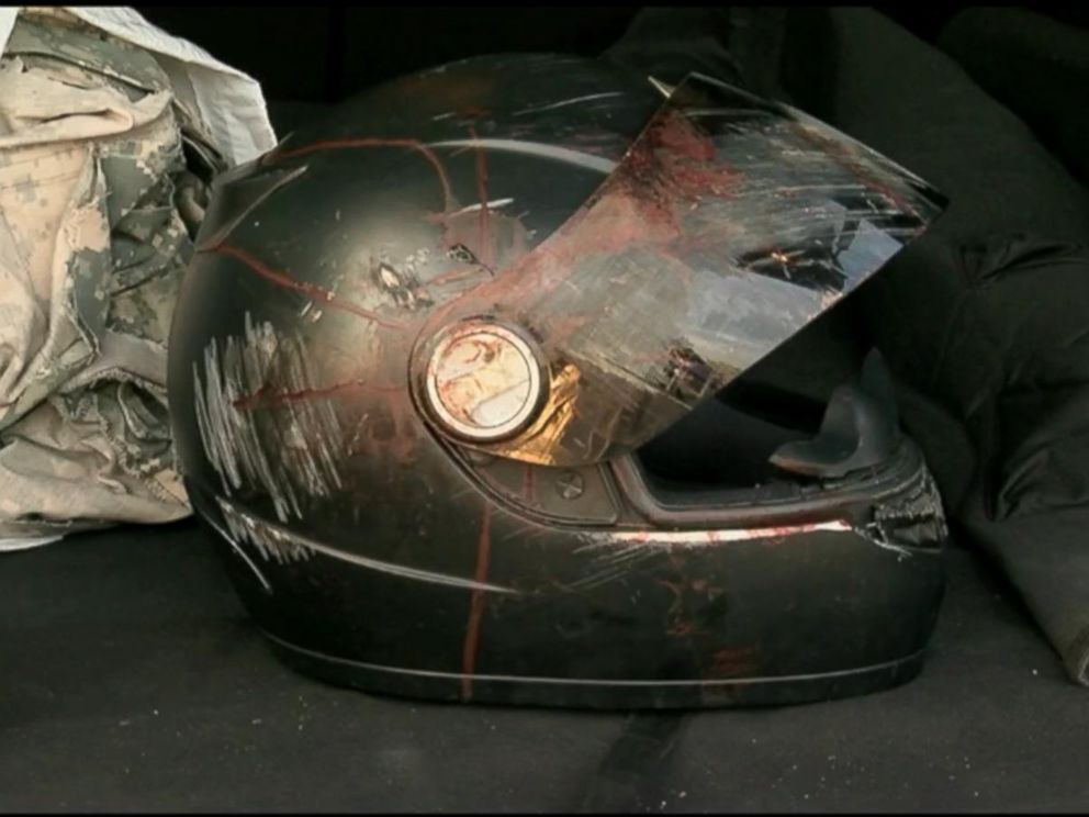 PHOTOEugene was wearing this helmet when he was struck by lightning while riding his & Man Struck by Lightning Crashes His Motorcycle in the Fast Lane ... azcodes.com