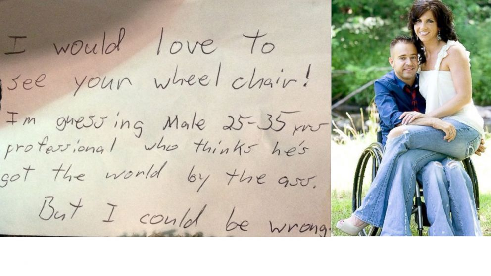PHOTO: Matt Milstead, a quadriplegic, received an anonymous note on his car accusing him of not being handicapped.