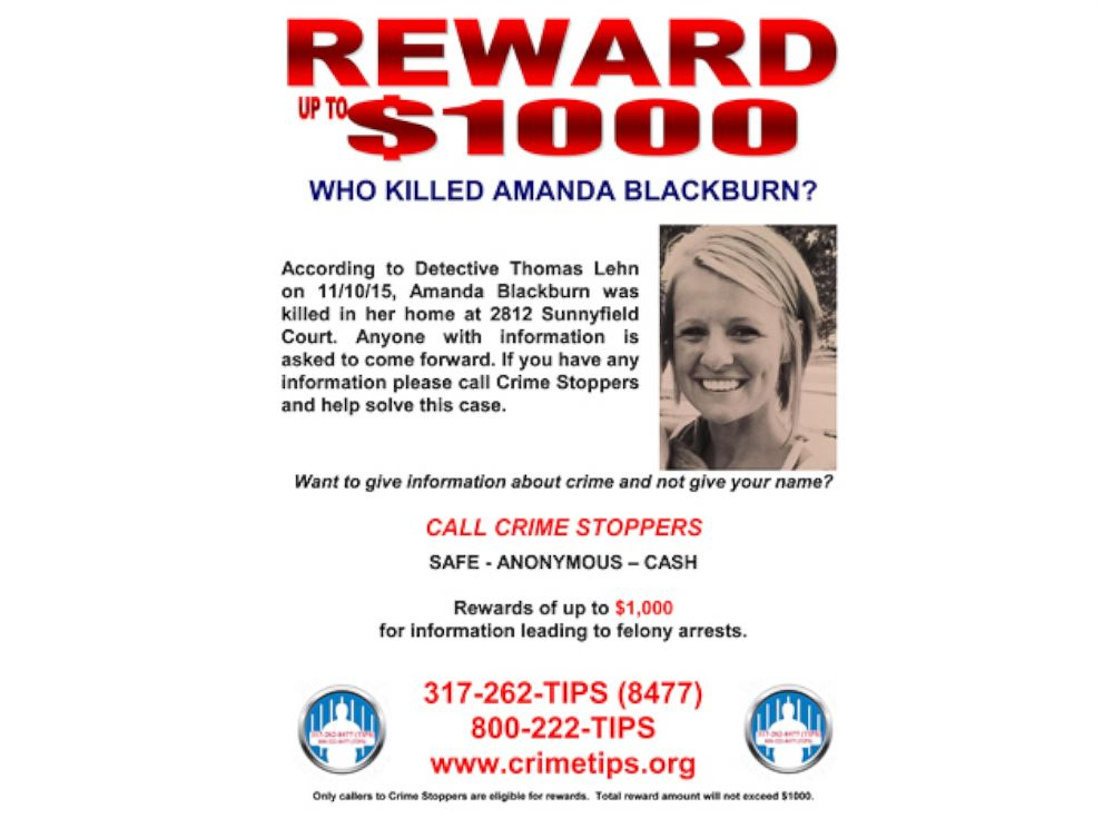 PHOTO: A reward is being offered for information about who killed Amanda Blackburn during an apparent home invasion in Indianapolis on Nov. 10, 2015.