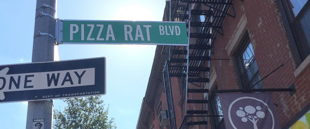 PHOTO: A Pizza Rat Blvd street sign was up for a few hours on the corner of India Street and Franklin Street in the Greenpoint neighborhood of Brooklyn on Oct. 16, 2015.
