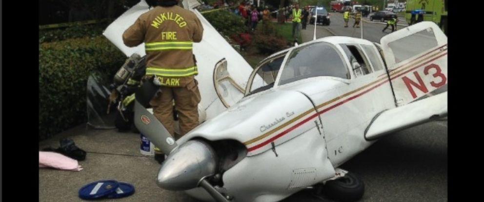 PHOTO: A small plane crashed onto a busy street in Mukilteo, Washington, on Tuesday.