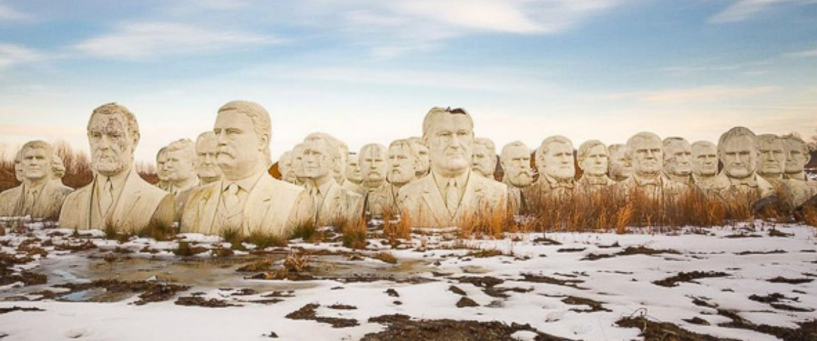 PHOTO: Stone busts of former U.S. Presidents sit in a field near Williamsburg, Virginia. The 20-foot-tall heads were saved from a nearby presidential museum when it closed in 2010.