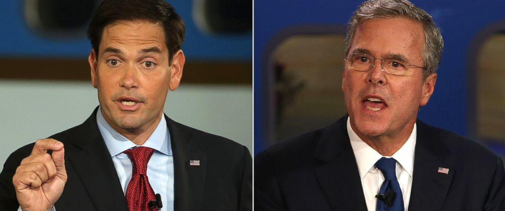 PHOTO: The battle between GOP presidential candidates Marco Rubio (left) and Jeb Bush is heating up.