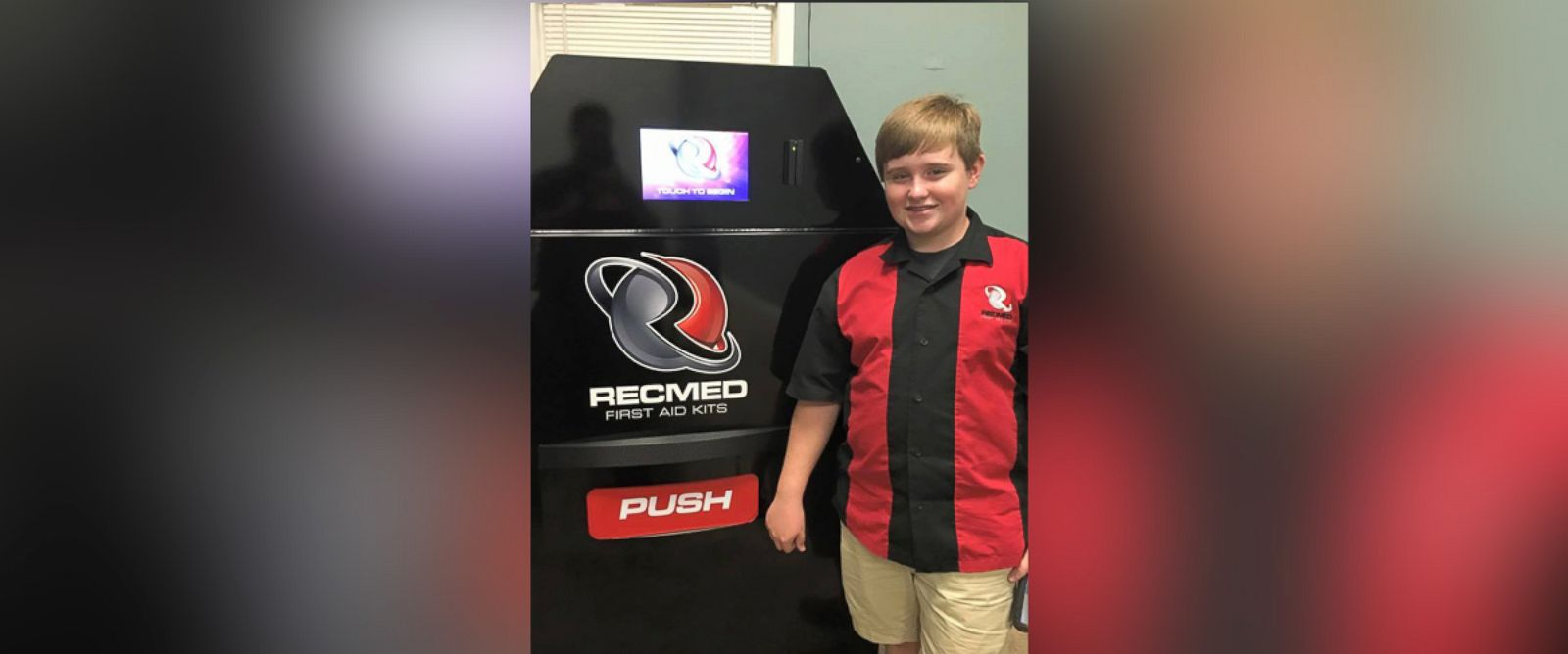 PHOTO: Taylor Rosenthal, 14, stands next to his invention RecMed, the first vending machine created to dispense first aid kits.
