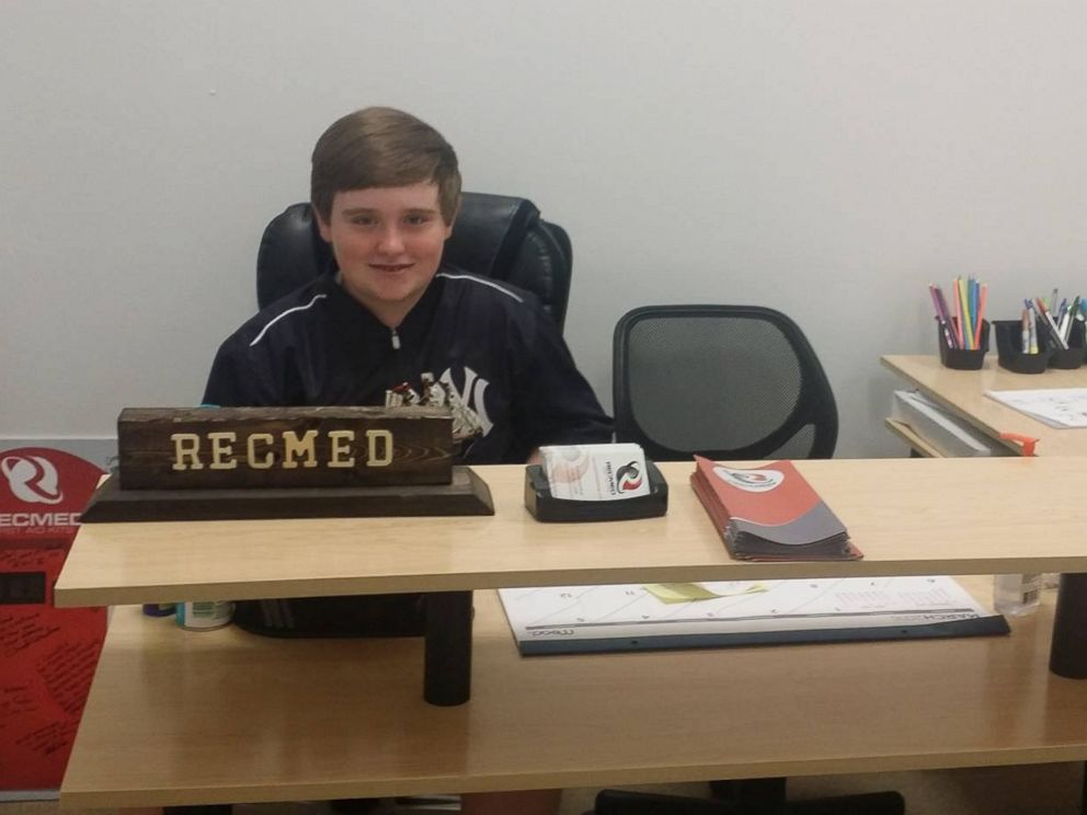 PHOTO: Teen entrepreneur Taylor Rosenthal, 14, has his own office at Roundhouse, a startup incubator in Alabama.